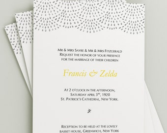 Printable Wedding Invitation Download 'Fountain' // DIY TEMPLATE // Word Mac or PC // 5 x 7 // Change artwork colour // Luxury Design