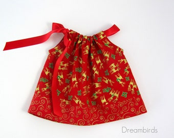 Baby Girls Red and Gold Christmas Dress - Metallic Gold Reindeer on Red -  Baby Girls Red Dress & Bloomers - Size Nb, 3m, 6m, 9m, 12m or 18m
