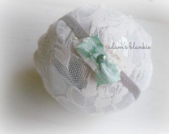 Milano - Mint Green Gray - Satin Silk Bow - Lace Headband - Newborn Infant Baby Girl Toddler Adult