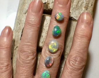Custom MadeTo Order Artisan Solid Opal stacking Rings In 9k Yellow Gold Or Sterling Silver
