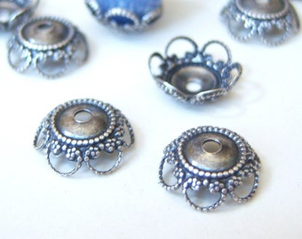 Antique silver 8mm bead caps, lot of (6) - GQ204