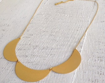 Moon Necklace, Long Necklace, Bridesmaids Gift, Geometric Necklace, Vintage Styles, Bib Necklace, Gold Necklace