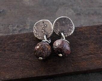 raw sterling silver  stud earrings • raw rough garnet earrings • 925 sterling silver • simpletiny stud