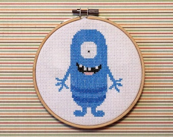 Blue Monster Cross Stitch Pattern Instant Download PDF