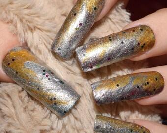 Silver Gold Abstract Fake Nails, Extra Long False Nails, Hand Painted Press On Nails, Straight Nails, Nail Designs, 24 Full Cover Nails