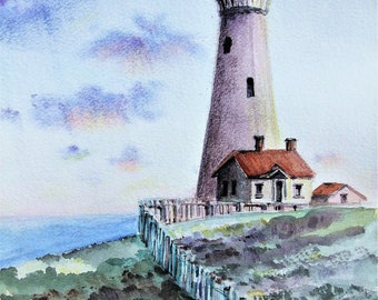 Original seascape watercolor painting A4 size Lighthouse Seaside