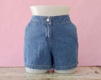 Vintage Denim Jean Shorts, 90s Mom Jean Shorts, 90 High Waisted Denim Jean Shorts, No Back Pocket, 80s Light Washed Denim, Women's Size 10