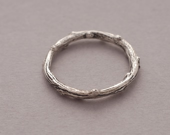 Twig Sterling Silver Band Ring for Women or Men, Olive Tree Branch Ring, 2.5mm width, Unique Nature Inspired Jewelry DA73