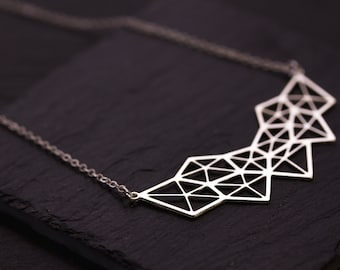 Necklace silver geometry matte, fine silver mesh chain, silver plated laser cut high quality