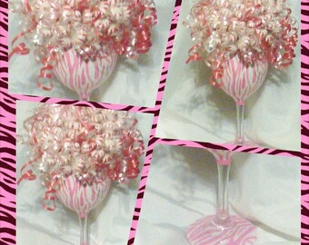 Hand painted wine glass - candy bouquet - edible bouquet - animal print wine glass