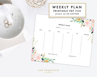 Weekly Planner Printable |  Letter-sized Watercolor Floral Weekly Plan | Floral Stationary Calendar | Adeline  | PDF, Instant Download