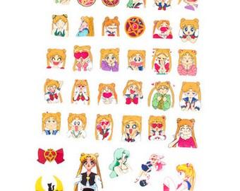 36 piece SAILOR MOON Pattern Sticker Lot Pack