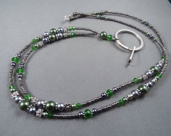 """Beaded breakaway lanyard green and gray glass pearls and crystals 32"""" to 46""""ID badge holder with magnetic or toggle clasp  ,unique fashion"""