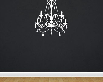 Elegant wall decal etsy chandelier wall decal vinyl chandelier vinyl wall art elegant wall decal girl bedroom decal girl nursery mozeypictures Images