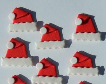 12 edible CHRISTMAS SANTA HATS cake cupcake decoration novelty topper cute gift xmas party birthday holiday cookie