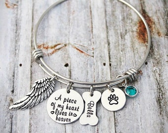 Wire Bracelet - Memorial Bangle - A Piece Of My Heart Lives In Heaven - Loss Of a Pet - Sympathy Gift - Remembrance - Pet Loss - Dog Loss
