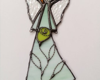 Stained Glass Angel. Tiffany style. Stained Glass Angel Suncatcher Guardian angel Angel with a flower Confirmation gift Charm for the child.