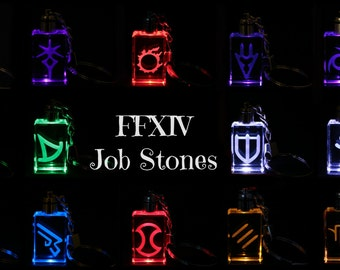 FFXIV Job Icon Keychains - Real Crystal - LED Light -Great Gift for the Final Fantasy XIV Fan - Red Mage and Samurai now available!
