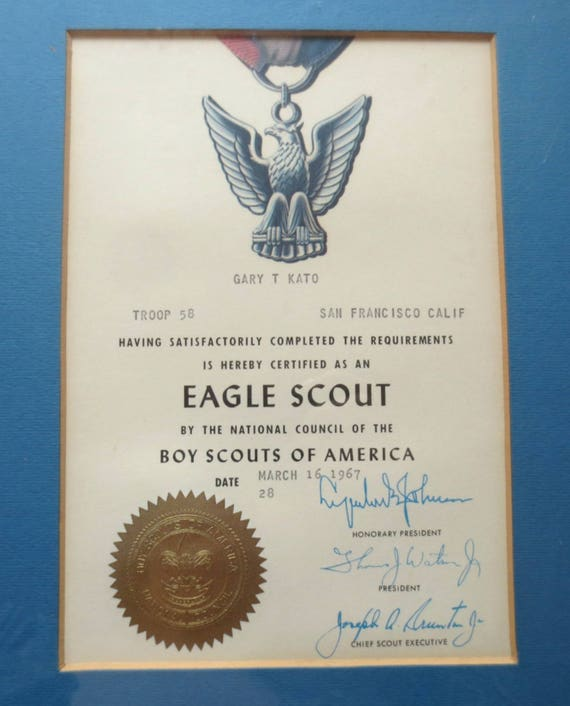 Framed 1967 Eagle Scoutboy Scout Certificate For Gary T