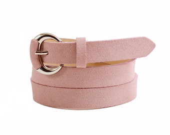 Free shipping! Pink belt, leather belt, womans belt, suede belt, pink leather belt, belt for dress, gift idea, pink accessory, waist belt