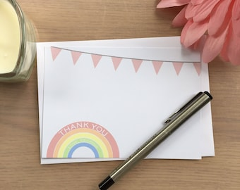 Rainbow Thank You Notes, Christening Thank You Cards, Kids Thank You Cards, Note Cards, Rainbow Notes, Thankyou Cards, Thank You Cards