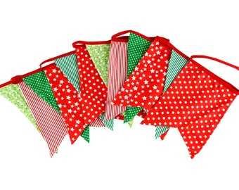 New Bigger Size 12 Flags Christmas Fabric Banners Personality Kid's Bunting Party Birthday Garland Home Decoration