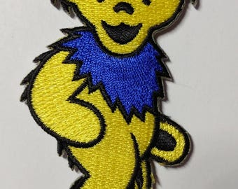 """3"""" Yellow Dancing Bear Patch Grateful Dead Owsley Stanley Merry Pranksters Steal Your Face"""