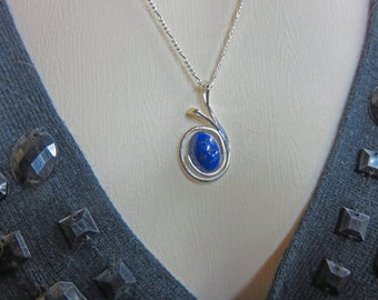 Lapis Lazuli Necklace - Natural Lapis and Sterling Silver Necklace - One of a Kind Lapis Necklace