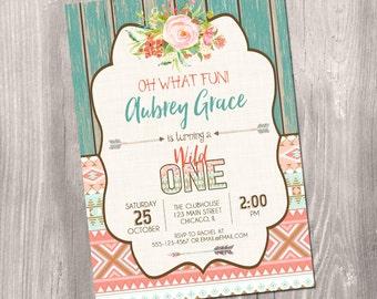 Wild one Birthday Invitation, tribal birthday invitation, boho birthday, wild one invitation, girl first birthday, Printable Invitation