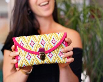 Grand portefeuille femme, portefeuille à soufflets, portefeuille accordéon, pochette à main, portefeuille attache cartable, rétro, graphique