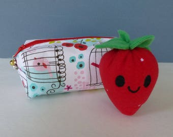 Sewing Kit:  Birdcage Pattern With Happy Strawberry Pincushion