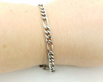 """Vintage Heavy Silver Plated Figaro Chain Bracelet- 7.25"""""""