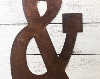"""12"""" Large RUSTED Ampersand & Symbol - Make your own Sign, Gift, Art!"""