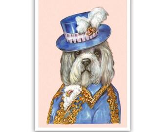 Dandie Dinmont Terrier Art Print - Sir - Dapper Dog Wall Decor - Pet Portraits by Maria Pishvanova