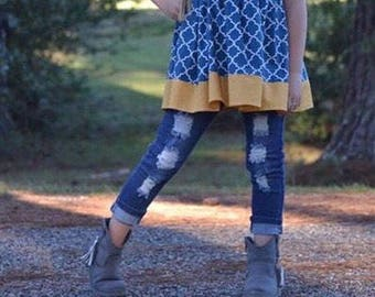 lola style tunic top, girls top, mustard and blue/navy