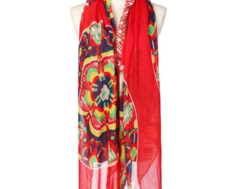 Womens Scarf, Floral Scarf, Floral Print Scarf, Chiffon Scarf, Voile Scarf, Cotton Scarf, Red Scarf