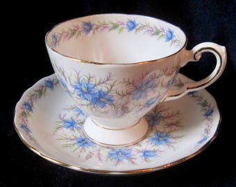 Tuscan Love in the Mist Blue Bone China Tea Cup and Saucer - D821 - Blue Flowers - England