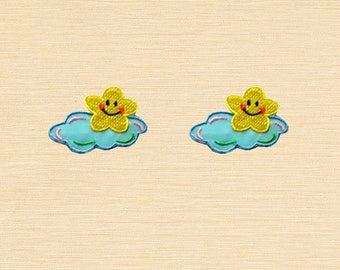 Set of 2 pcs Mini Smiling Yellow Star Blue Cloud Iron On Patches Sew On Aplliques