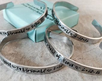 Set of bridesmaid bracelets cuff bracelets bridesmaid gifts wedding party gifts personalized bridesmaids gifts monogrammed wedding date