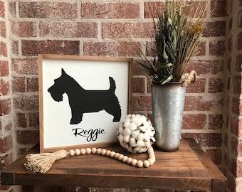 Custom dog breed & name 12x12 - Wood Sign - Farmhouse decor, gift idea, Scottish Terrier