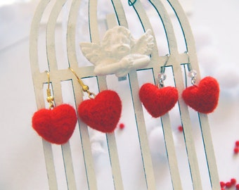 Redheart Etsy crafts stores San valentine Happy Valentinesday St valentine story Valentines days Earrings red heart wool Valentine's Day