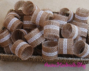 Burlap Wedding Napkin Rings, Wedding Table Decor, Rustic Wedding Napkin Holders, Set of 100