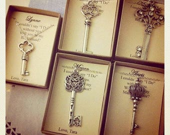 Skeleton Key necklace, key gift, bridesmaid key jewelry.