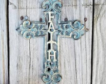 Cross, wall cross, iron wall cross, ornate cross, unique cross, iron crosses,  faith, shabby chic cross, rustic cross, iron anniversary