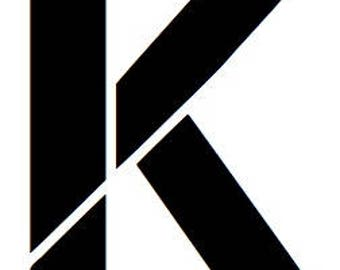 Letter K Stencil Made from 4 Ply Mat Board
