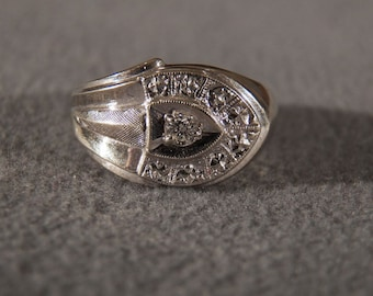 Vintage 14 K White Gold Round Diamond Fancy  Etched Wide Band Ring 9    **RL