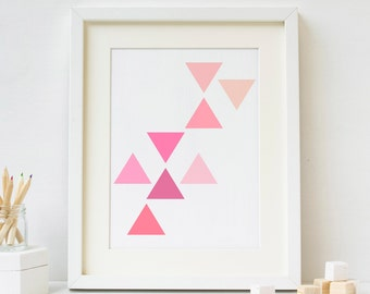 Aztec Art, Triangle Art, Geometric Wall Art, Geometric Printable, Pink Art, Abstract Art, Printable Wall Art, Triangle Prints