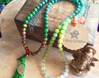 Japa Mala necklace 108 beads Forest Child. 108 Mala Necklace. Tassel Japa Mala Necklace. Wood Quartz Japa Mala. Yoga Necklace. Meditation