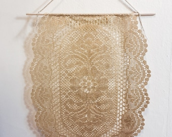 Vintage gold lace doily wall hangings - set of 2
