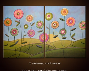 Art Painting Modern Contemporary Abstract Floral Flowers Wall Art Decor... 28 x 44 ... Growing In the Sun Amy Giacomelli
